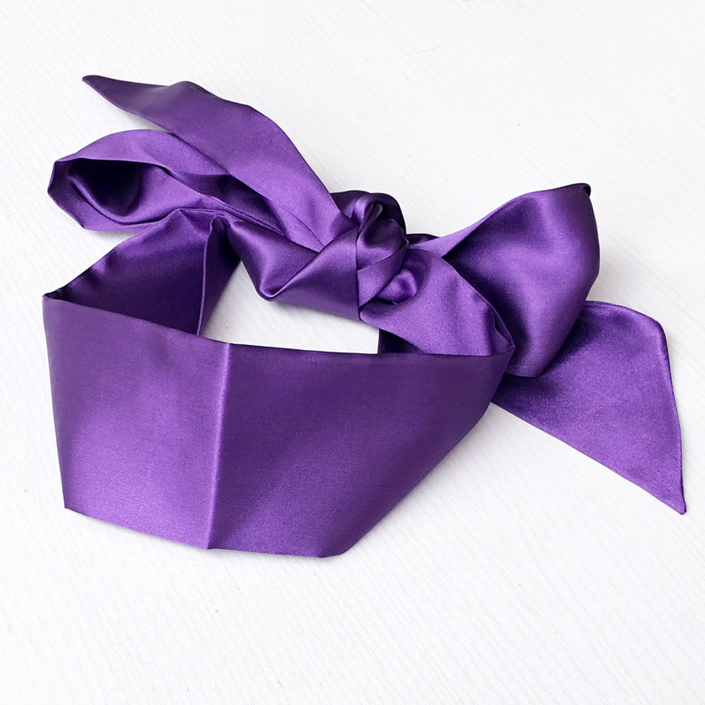 Sex Products Double Layer Blind Mask For Sleep Rest Soft Silk Satin Eye Patch Mask Ribbon Bondage Flirting Blindfold purple