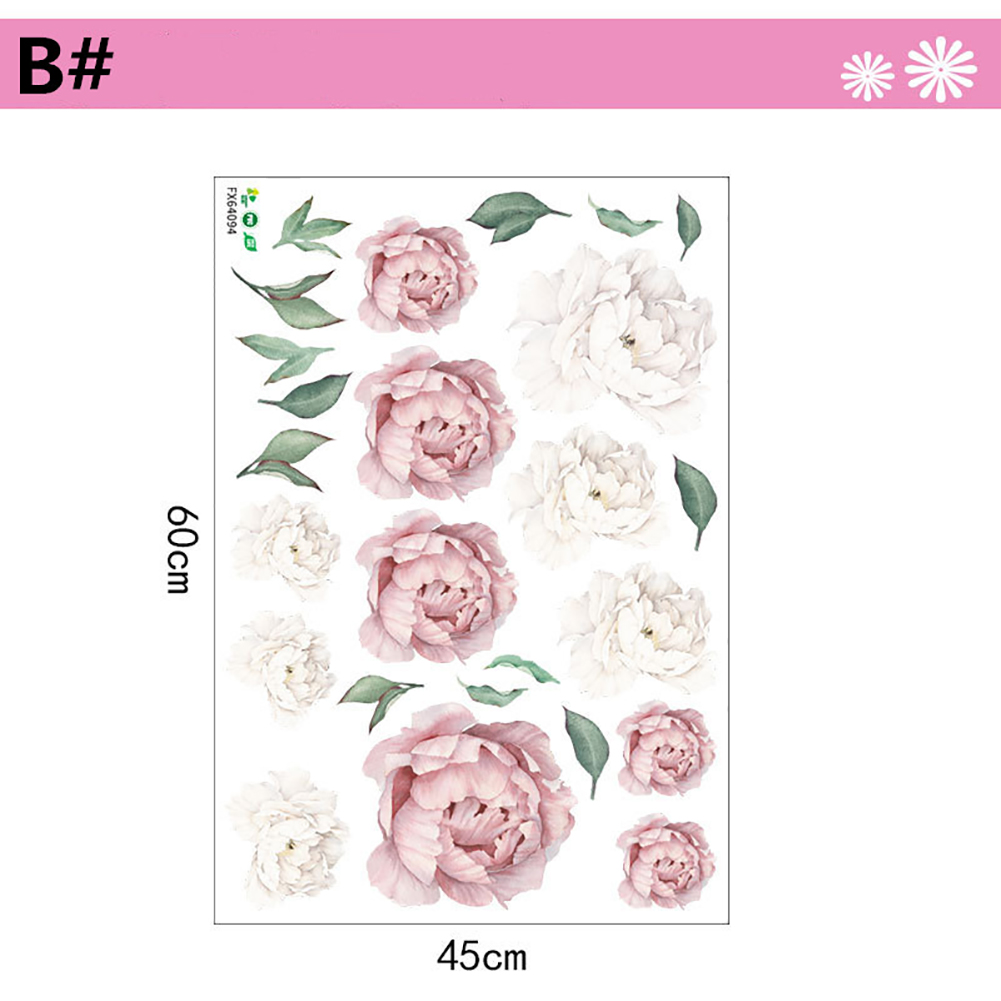 Peony Flower Series Pattern Wall Art Sticker for Home Living Room Bedroom Decor Light pink B#