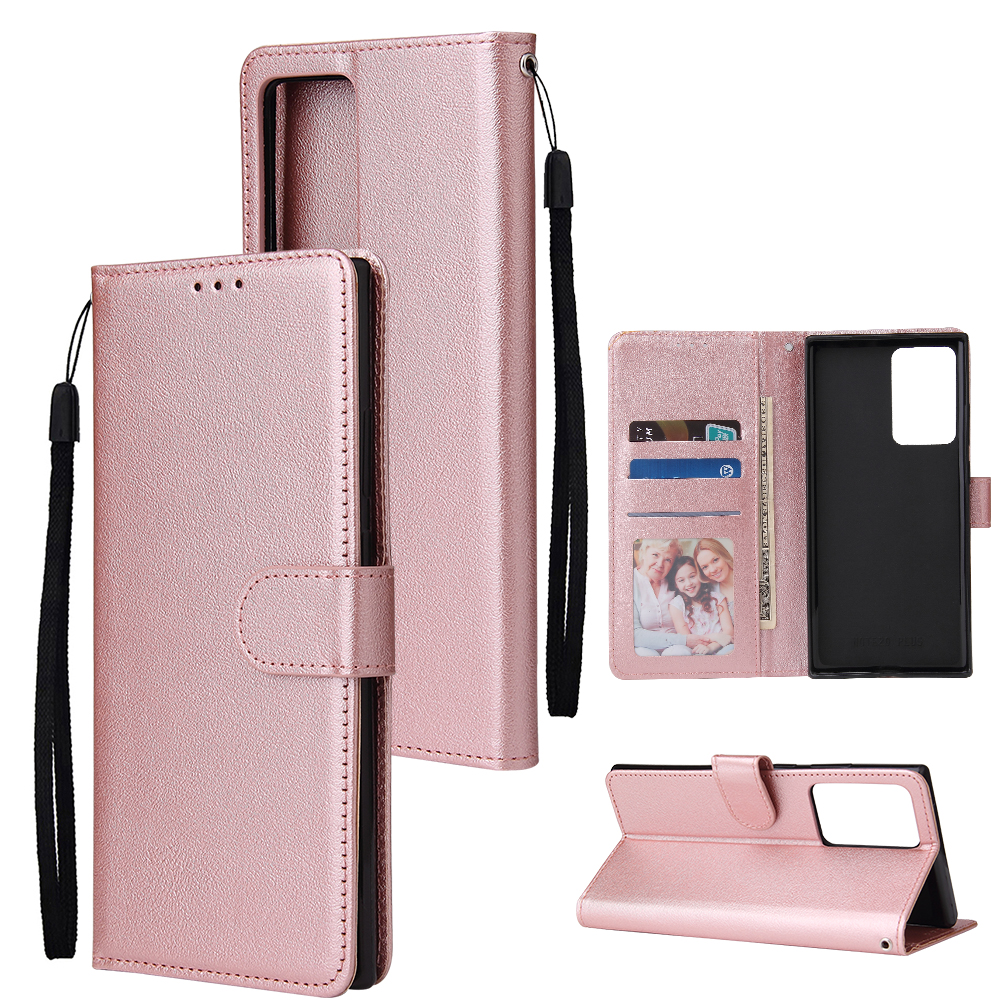 For HUAWEI PSmart 2020/Y5P/Y6P PU Leather Mobile Phone Cover with 3 Cards Slots Phone Frame Rose gold