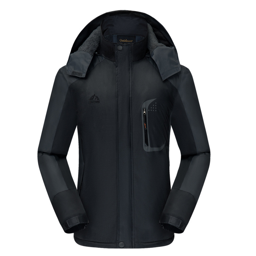 Men's Jackets Winter Thickening Windproof and Warm Outdoor Mountaineering Clothing  black_L