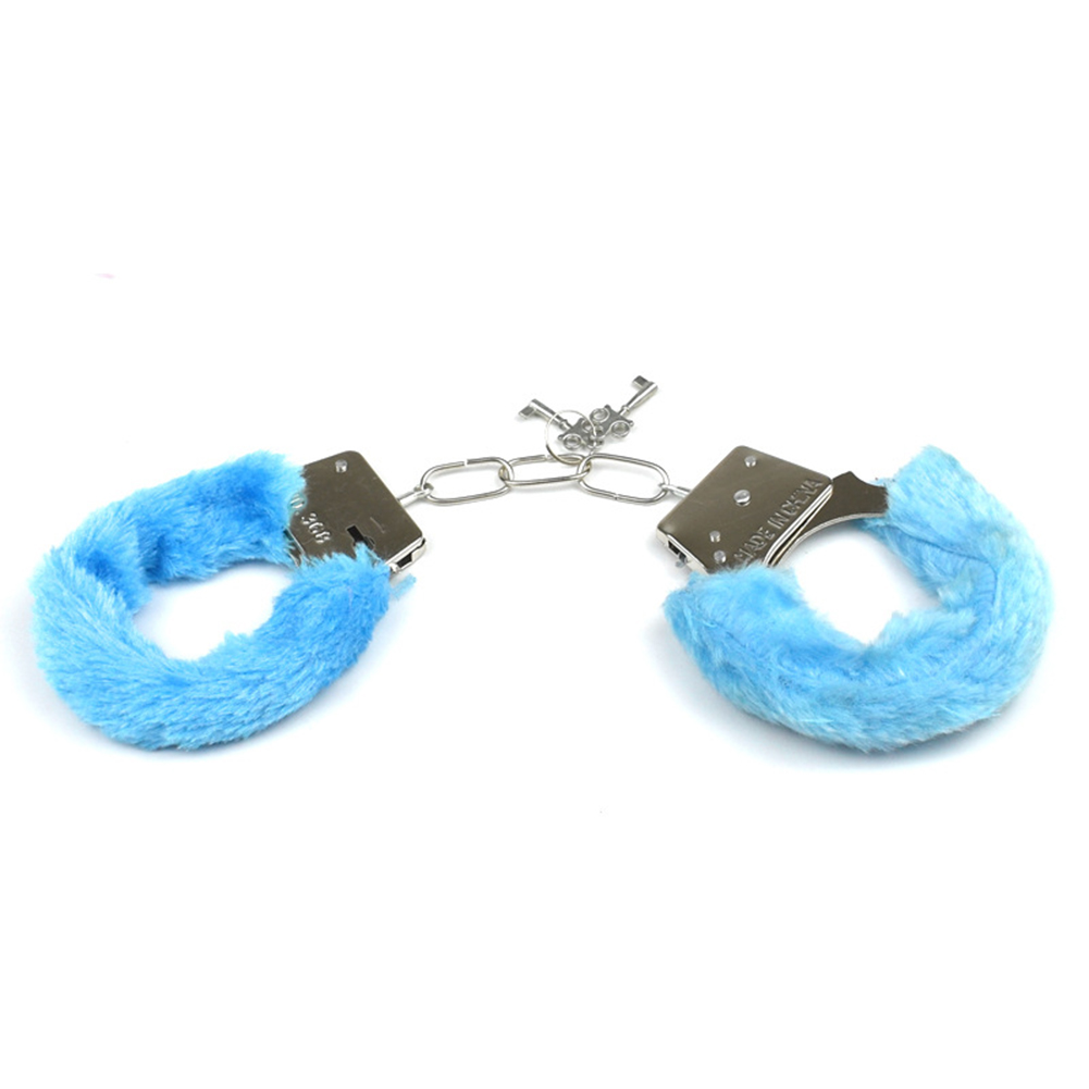 Furry Soft Metal Handcuffs Couple Chastity Sex Toys Role-playing Erotic Products Adult Games SM Bondage Handcuffs  blue