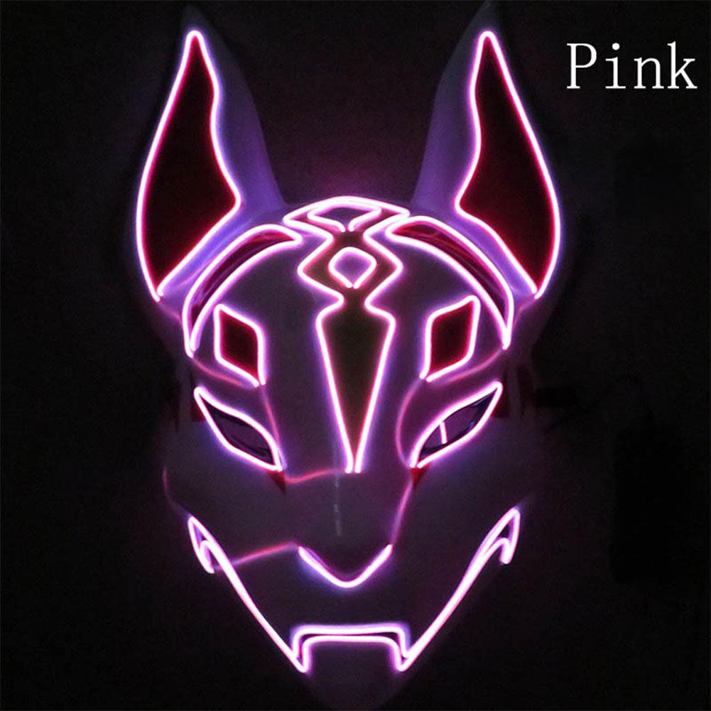 LED Cold Light Mask for Party Festive Christmas Halloween Costume Part Bar Dress Up  Standard mask pink
