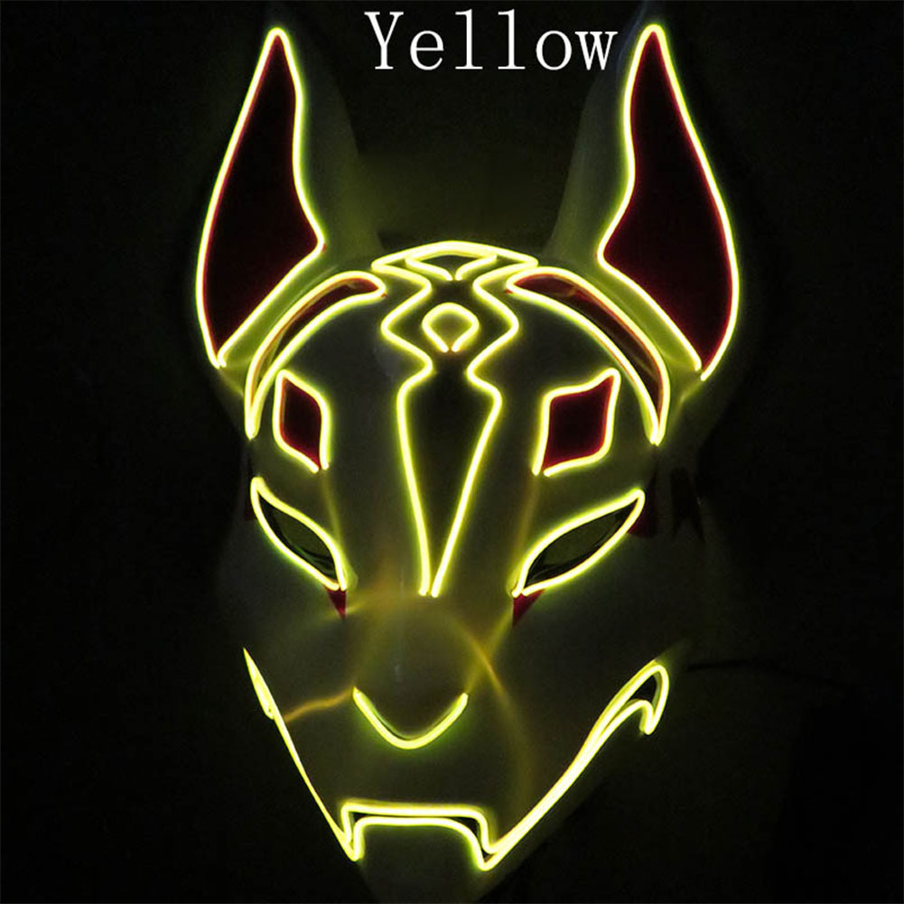 LED Cold Light Mask for Party Festive Christmas Halloween Costume Part Bar Dress Up  Standard mask yellow