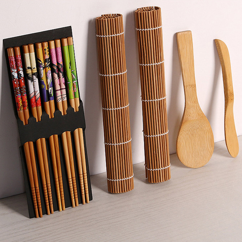 Complete Bamboo Sushi Making Kit 2 Rolling Mats & 1 Spoon & 1 Spreader & 5 Pairs of Chopsticks Kitchen Accessories Bamboo Sushi Making Kit
