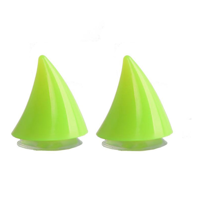2PCS Motorcycle Helmet Corner Plastic Resilient Silicone Suction Cup Soft Horn Decoration Headwear Rubber Horn green_Small horns