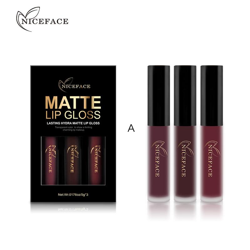 3pcs Nonstick Cup Matt Lip Glaze Liquid Lipstick Pencils Beauty Makeup