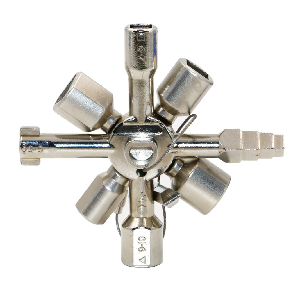 [EU Direct] 10-in-1 Multifunctional Cross Wrench Key Square Triangle Key for Train Electrical Elevator Cabinet Valve