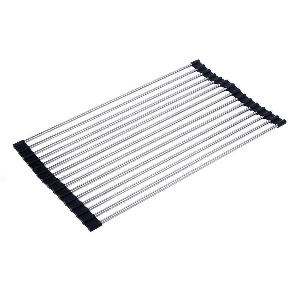 [EU Direct] Foldable Stainless Steel Drying Rack Detachable Draining Rack for Kitchen