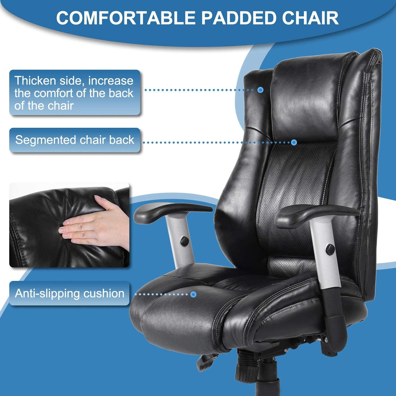 [US Direct] Original Smugdesk Office Chair Ergonomic Computer Bonded Leather Adjustable Desk Chair, Swivel Comfortable Rolling, Black