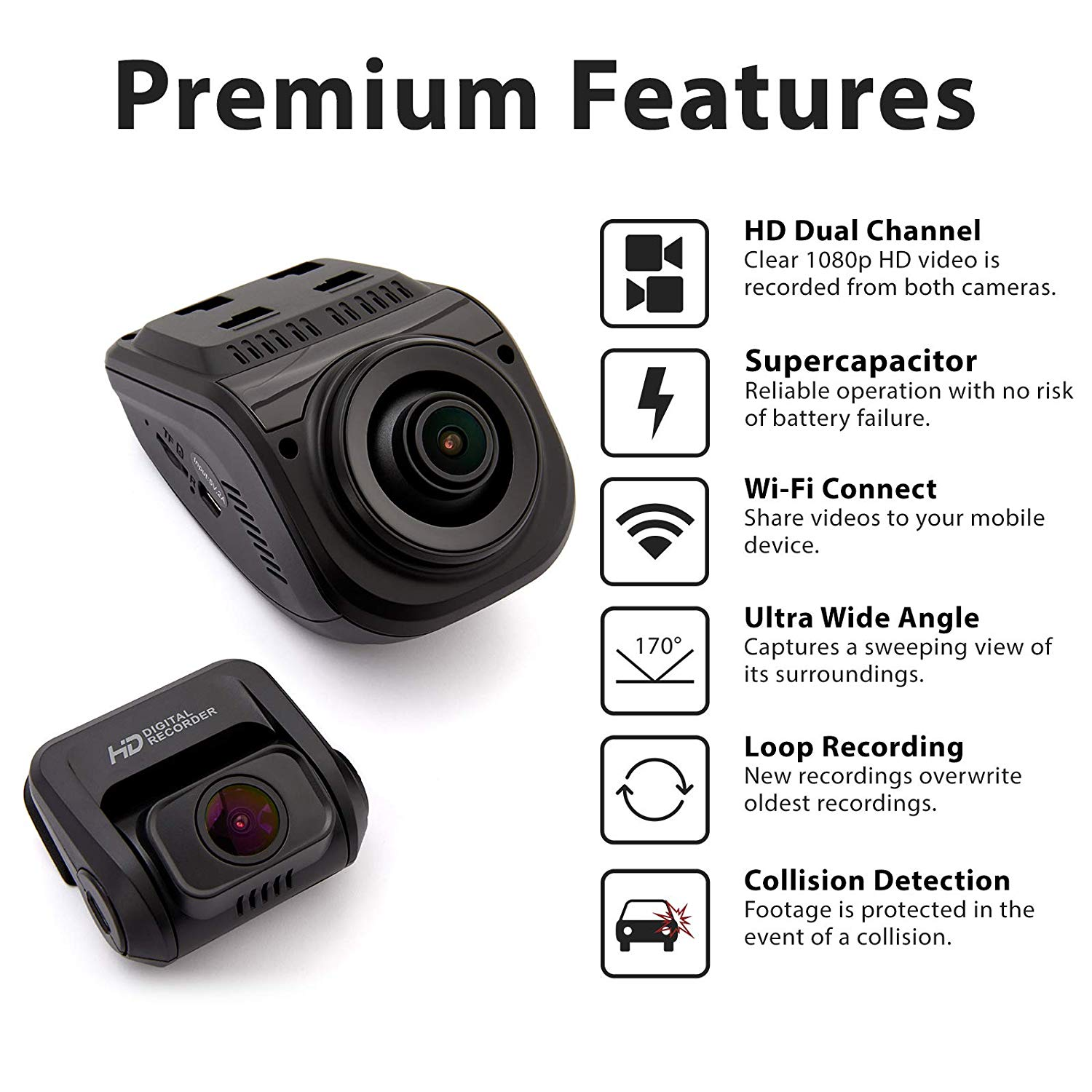 [US Direct] Original REXING V1P 3rd Generation Dual 1080p HD WiFi Dash Cam with Supercapacitor, 2.4