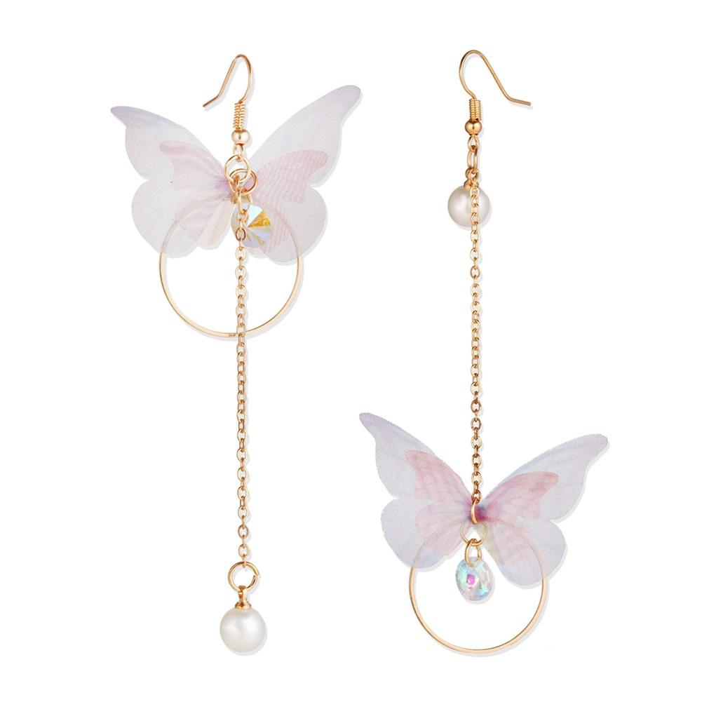 1 Pairs Of Women Earrings Alloy Retro Style Asymmetric Butterfly-shape Earrings gold