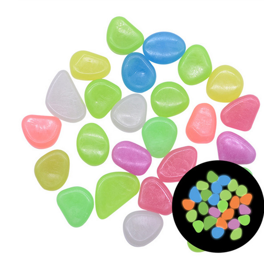 100pcs Glow In The Dark Garden Pebbles Stones For Yard Walkways Decor Luminous Stones color