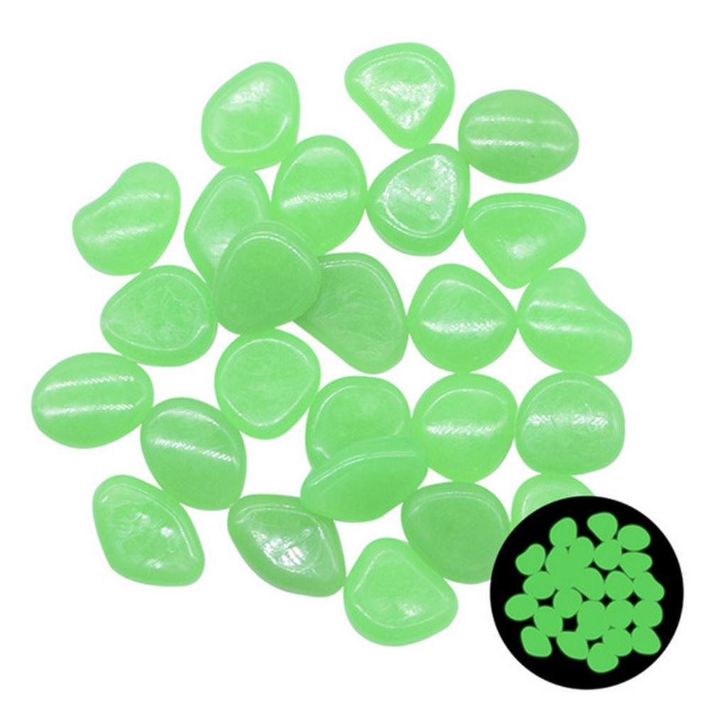 100pcs Glow In The Dark Garden Pebbles Stones For Yard Walkways Decor Luminous Stones green