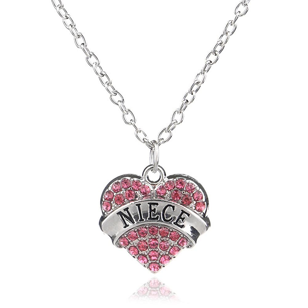 Women's Necklace Heart-shaped Letter Pendant Diamond-mounted Necklace Pink Diamond Niec