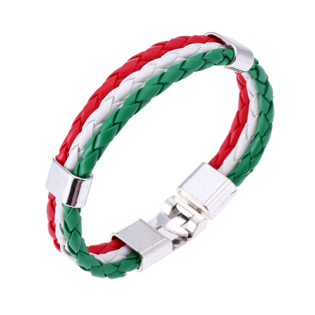 Men Women Bracelet Braided PU Italian Flag Bangle Leather Alloy for Green White red Italy