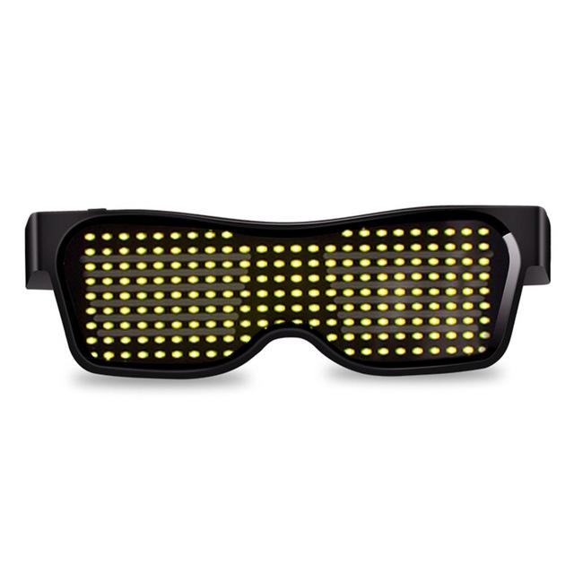 Led Party Glasses App Control Bluetooth Customized Languages Flashing USB Charge Luminous Eyewear Christmas Concert Light Toy  Black frame yellow light