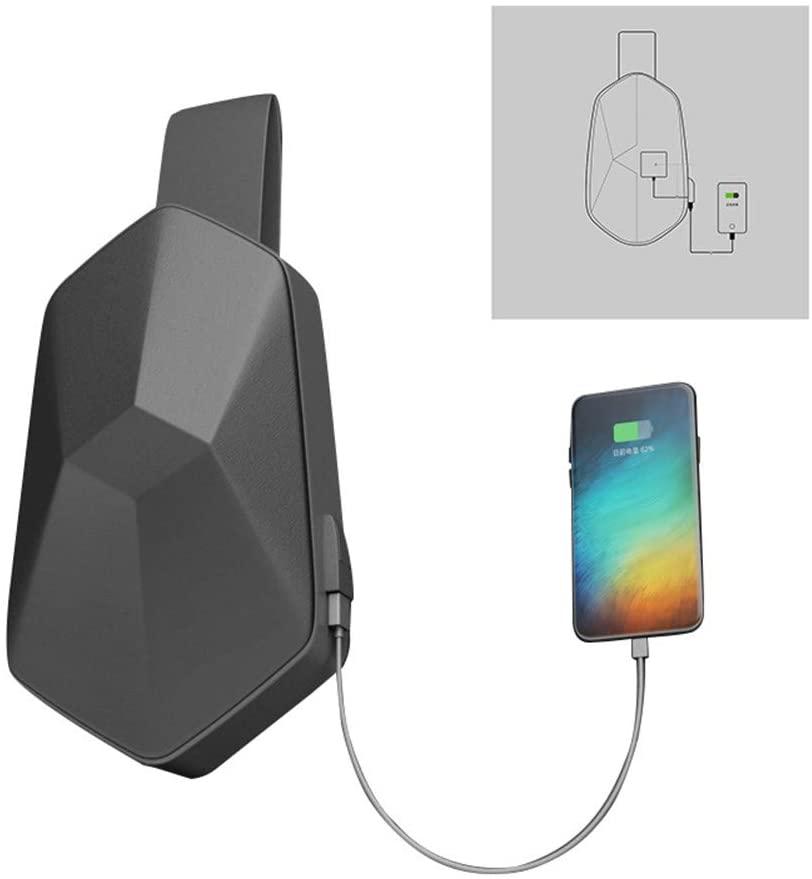 Multifunction Shoulder Bag Waterproof Leisure Chest Bag with USB Charging Port for Phone Tablet PC black