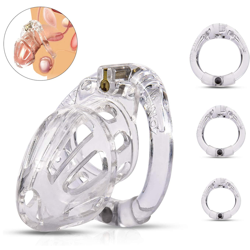 Male Chastity Cage Lightweight Cock Cage Device Sex Toys for Man with 4 Sizes Rings and Invisible Lock