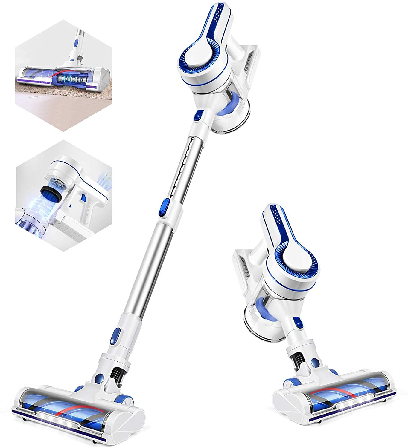 [US Direct] APOSEN Cordless Vacuum Cleaner, Upgraded Powerful Suction 4 in 1 Stick Vacuum Cleaner 35min-Running Detachable Battery, 1.2L Large-Capacity Dust Cup-H120