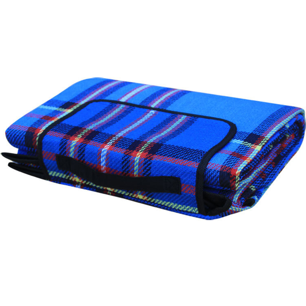 Outdoor Beach Picnic Folding Camping Mat Waterproof Sleeping Camping Pad Mat Moistureproof Plaid Blanket blue_200 * 150