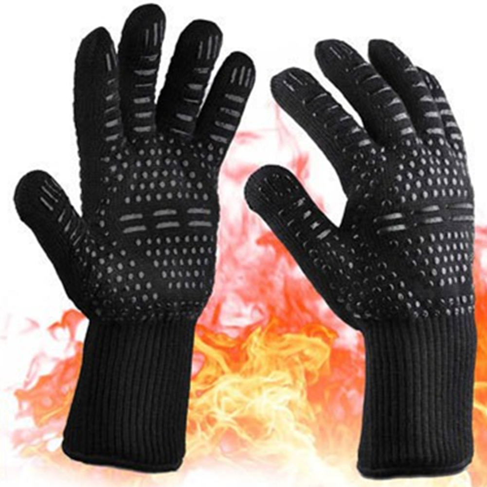 BBQ Grilling Cooking Gloves Extreme Heat Resistant Oven Welding Gloves Kitchen Tool Black ==_33CM