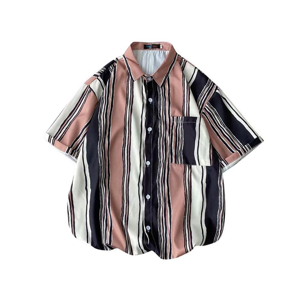 Men  Shirt Retro Hong Kong-style Vertical Striped Color Matching Loose Lapel Cardigan  Shirt Khaki_XL