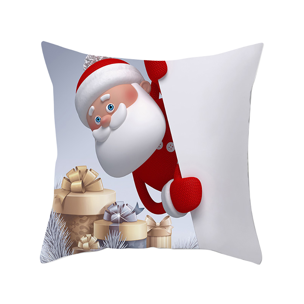 Peach Skin Throw Pillow Cover Christmas Snow Man Pattern Cartoon Cover for Home Living Room Sofa Decor 45*45cm
