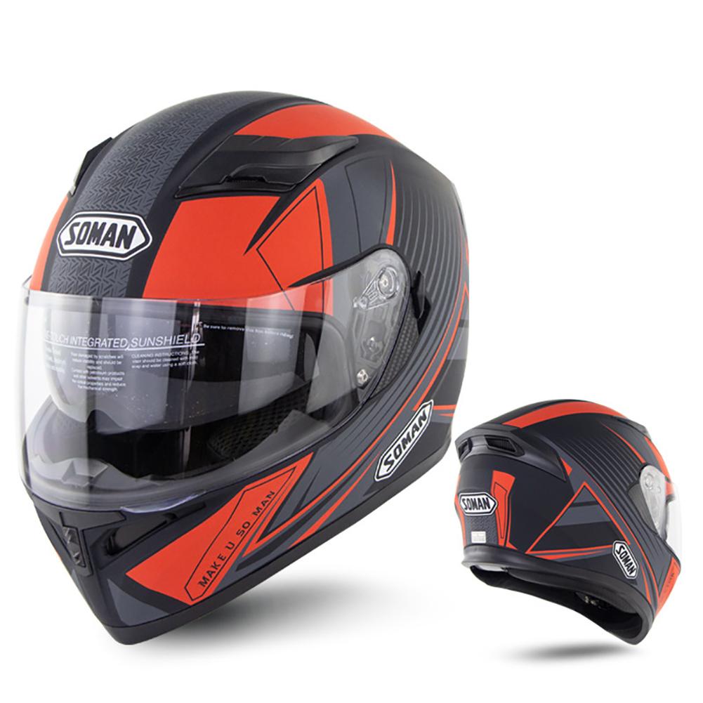 Full Face Motorcycle Helmet Sun Visor Dual Lens Moto Helmet Red acceleration_L