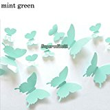 Ainest 3D DIY Wall Sticker Stickers Butterfly Home Decor Room Decorations Mint Green