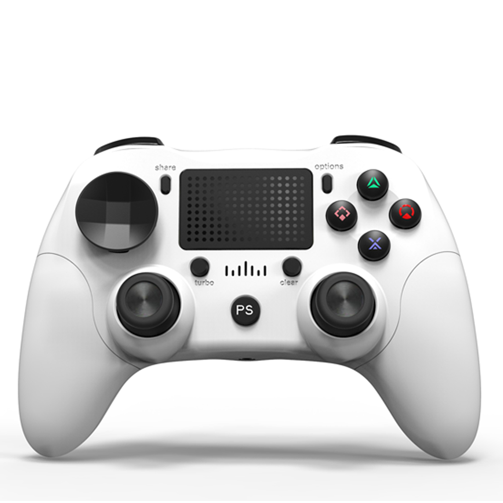 Bluetooth Game Controller Wireless Bluetooth Gamepad Six-axis Dual Vibration Handle Bluetooth Game Controller For PS4 white