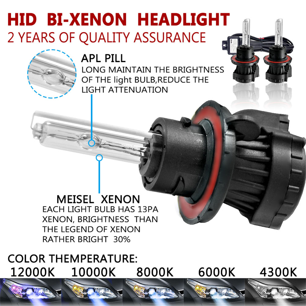 12V HID Xenon Replacement Headlights Set 55W H13 BI-XENON HI/LOW Daylight