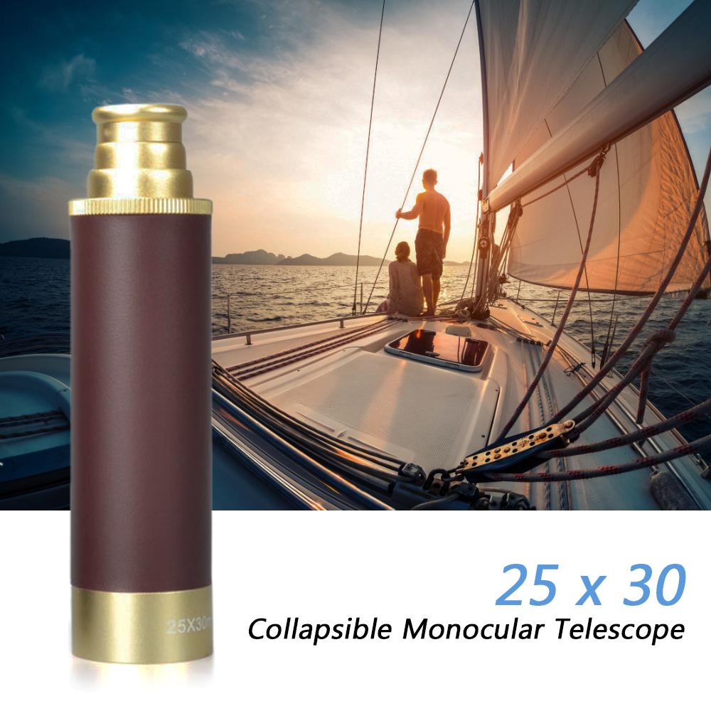 25x30 Portable Mini Collapsible Monocular Optic Brass Telescope Travel Hiking Camping Fishing Golden brown
