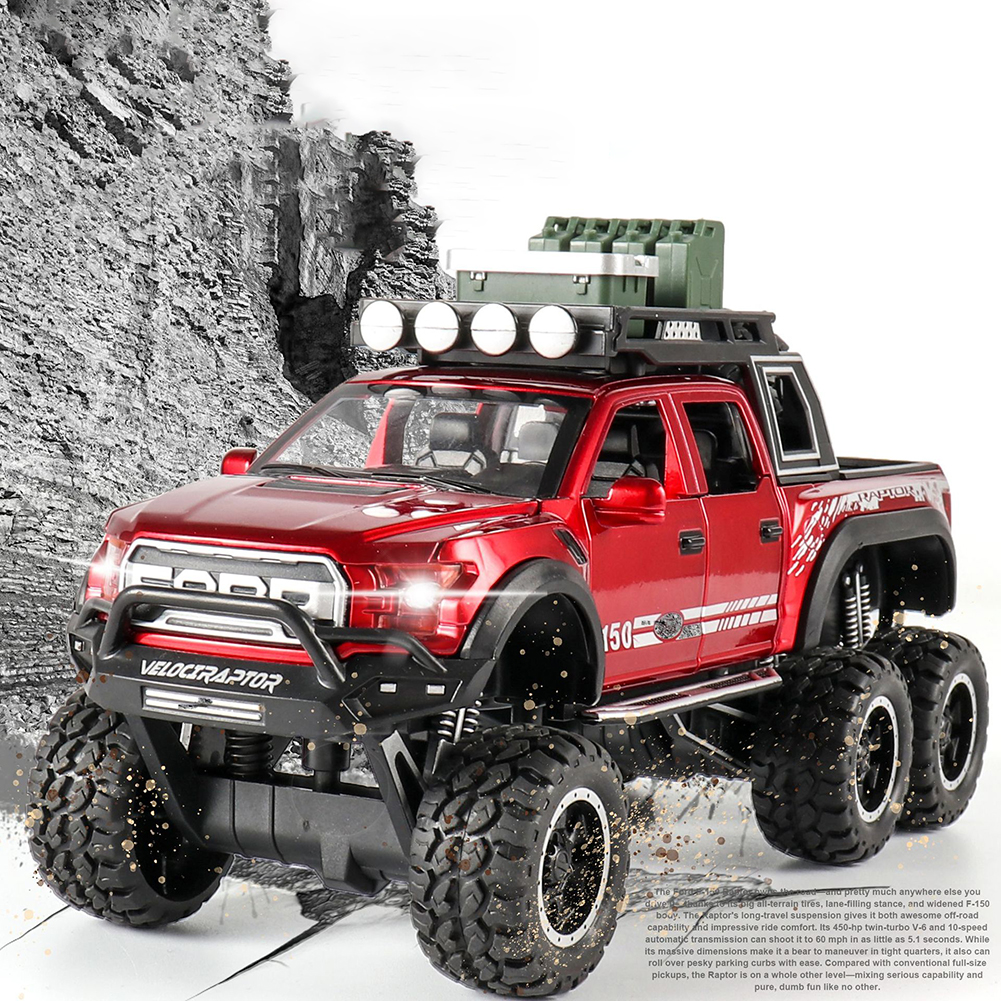 1:32 Simulated Raptor F150 Acousto-Optic Resilient Alloy Model Car Children Toy for Ornament red