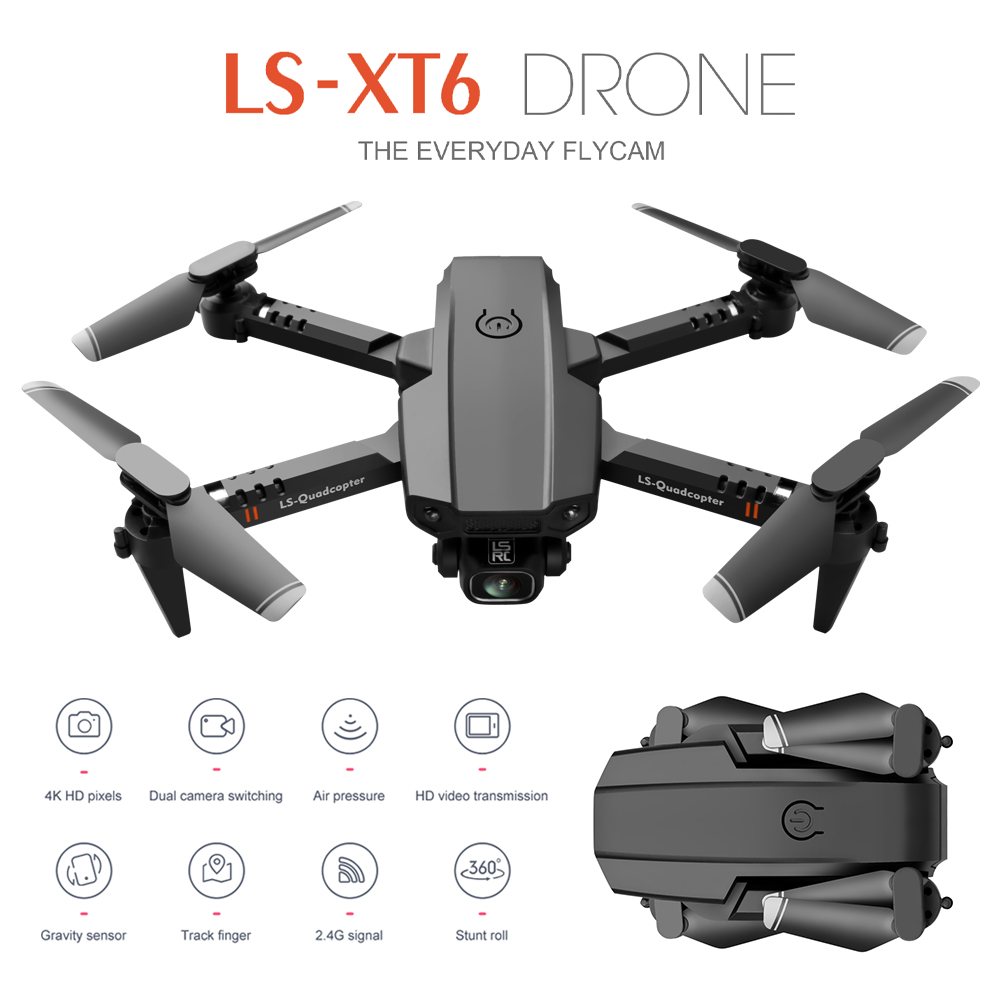 LS-XT6 Mini Drone 4K Aerial Folding Long-Endurance UAV Dual Lens Quadcopter Single lens 1080P 2B