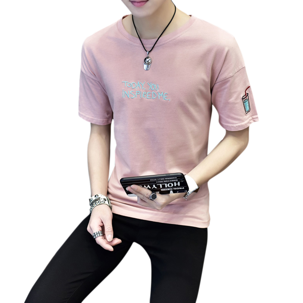 Men Round Collar Loose Fashion Short Sleeve Casual T-shirt Cola Cup Pink Short Sleeve_XXL