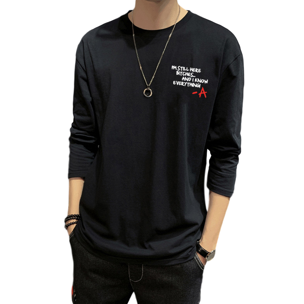Men's T-shirt Autumn Long-sleeve Thin Type Loose Bottoming Shirt  black_4XL