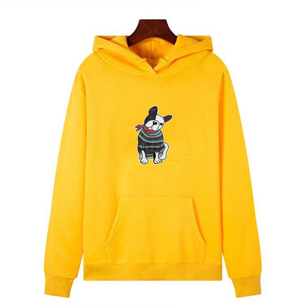 Men's Hoodie Fall Winter Cartoon Print Plus Size Hooded Tops Yellow_XXL
