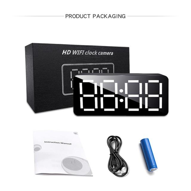 H16 Mini Camera Wireless WiFi 1080p HD IP P2P DVR Camcorder Alarm Clock Motion Sensor Ir Security Cam black