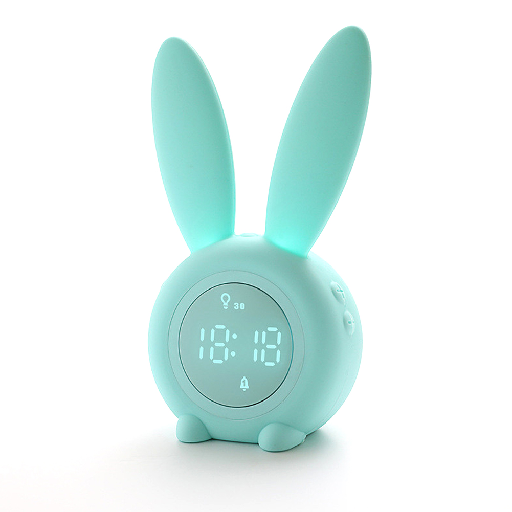 Cartoon Bunny Shape Kids Alarm Clock Sleep Trainer Rechargeable Night Light with Voice Control Magnetic Catche green