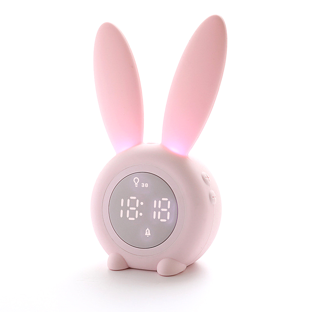 Cartoon Bunny Shape Kids Alarm Clock Sleep Trainer Rechargeable Night Light with Voice Control Magnetic Catche Pink
