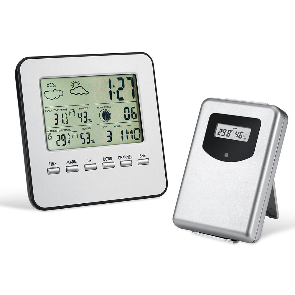 Digital Alarm Clock Weather Station Wireless Hygrometer Thermometer Desktop Table Clock As shown
