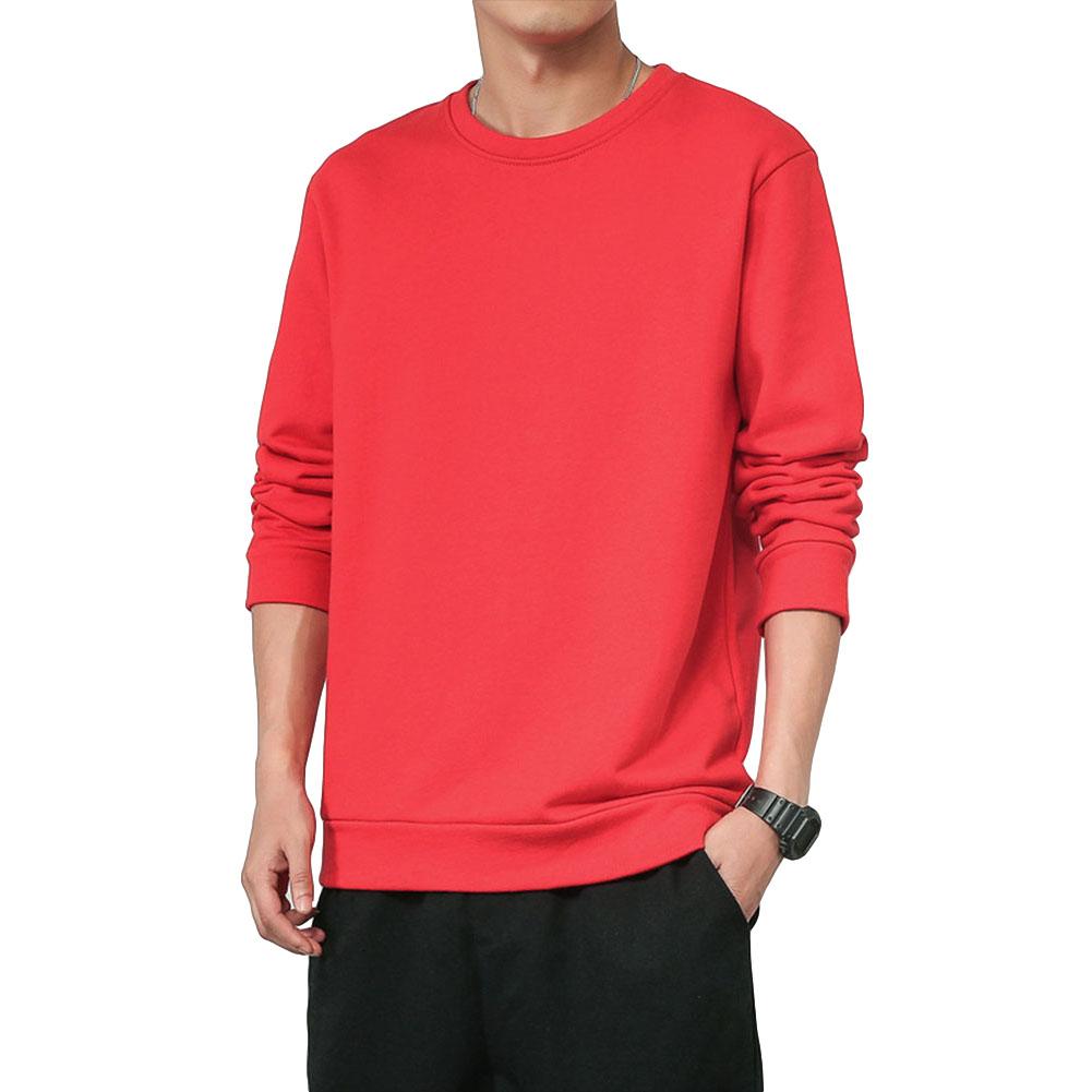 Men Spring Autumn Sweatshirts Casual Fashion Round Collar Coat red_L