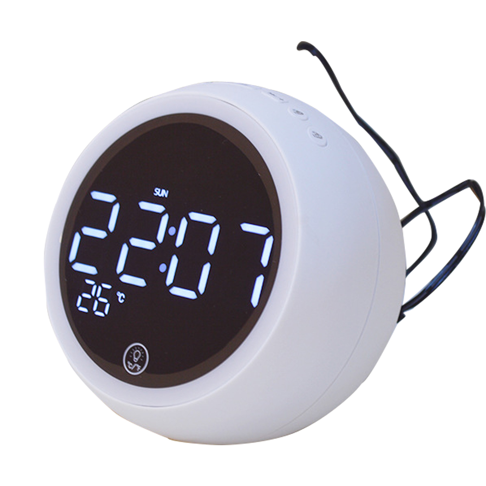 New X10 Bluetooth Clock Desktop Computer Speaker Bedside Night Light Alarm Clock Multi-function Radio White plug-in version - Australian regulations