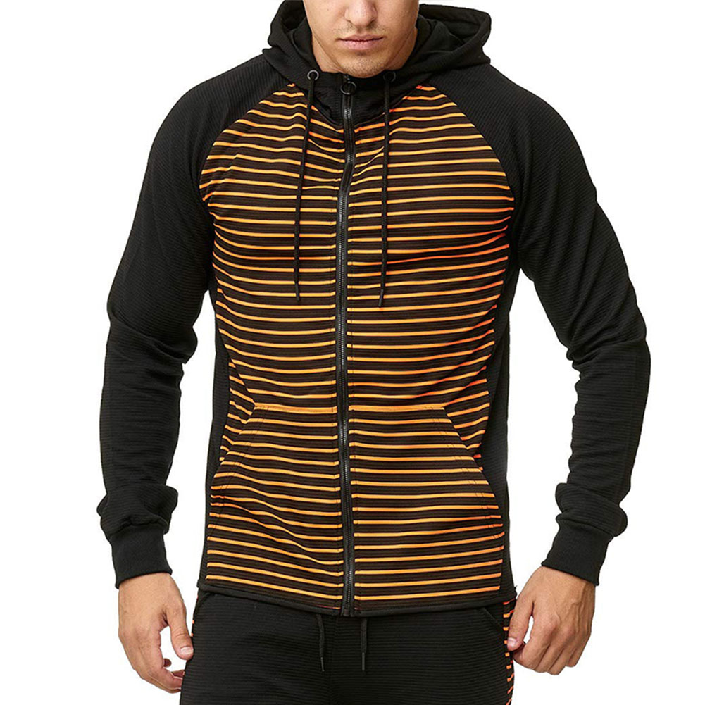 Men Zipper Sweatshirt Coat Spring Autumn Stripes Hooded Zipper Cardigan Orange stripe_L