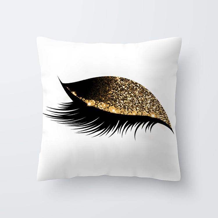Eyelash Pattern Throw Pillow Cover for Living Room Sofa Sleeping Waist Support 6#_45*45cm