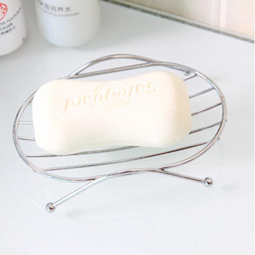 Stainless Steel Soap Box with Drain Design Stylish Soap Dish Storage Rack Bathroom Decoration  Oval