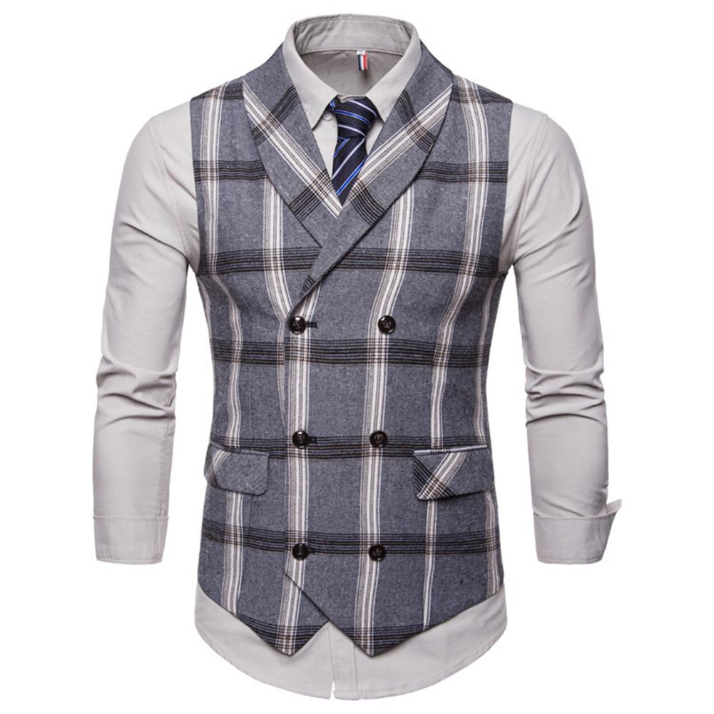 Men Plaid Suit Waistcoat Leisure Style Slim Double-breasted Waistcoat Gray plaid_3XL