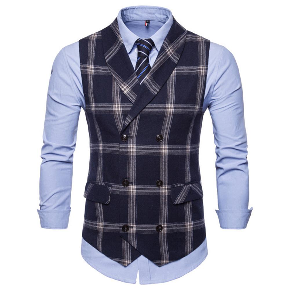 Men Plaid Suit Waistcoat Leisure Style Slim Double-breasted Waistcoat Navy blue plaid_3XL