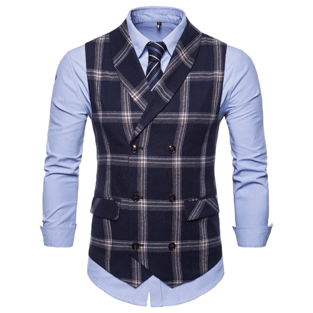 Men Plaid Suit Waistcoat Leisure Style Slim Double-breasted Waistcoat Navy blue plaid_L