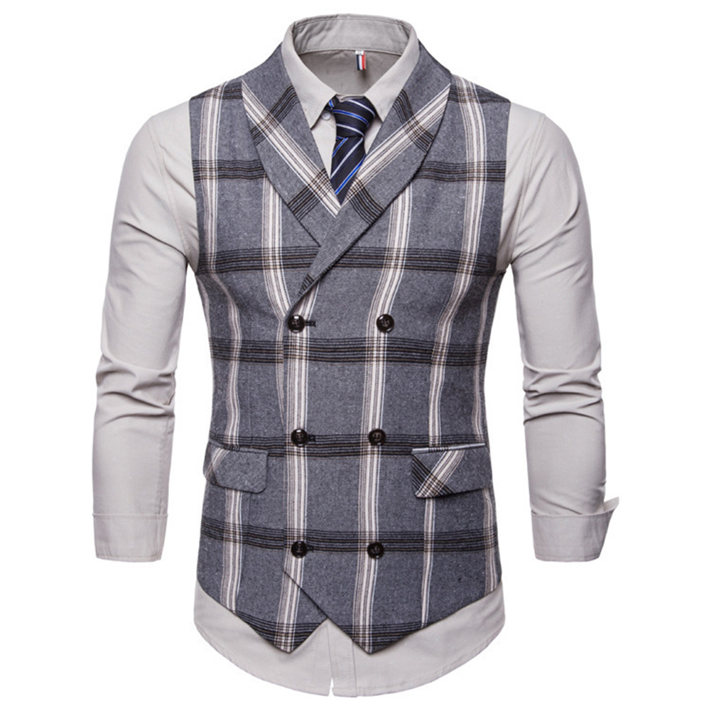 Men Plaid Suit Waistcoat Leisure Style Slim Double-breasted Waistcoat Gray plaid_2XL